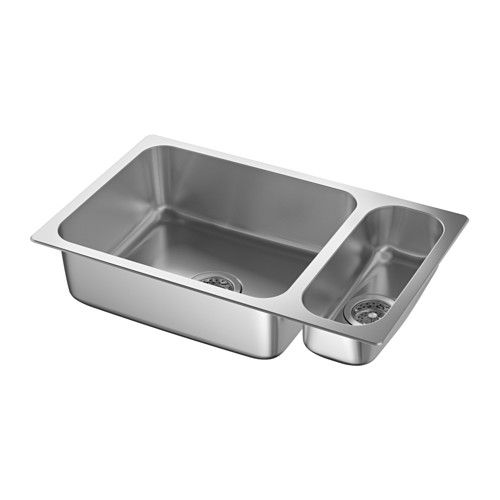 Beautiful hillesjn bowl dual mount sink stainless steel for Evier mural inox