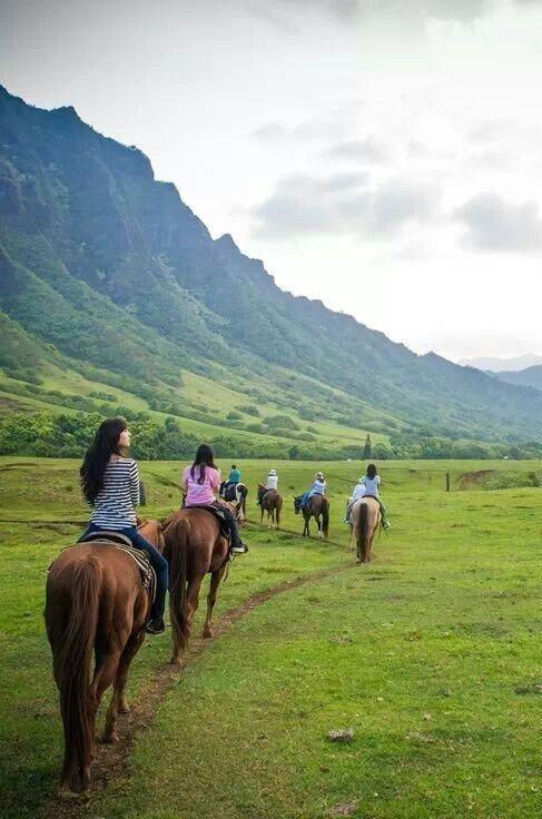 horseback riding tour at Kualoa Ranch, O'ahu, Hawai'i