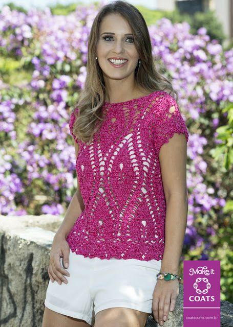 Patrón #1206: Blusa a Ganchillo | CTejidas [Crochet y Dos Agujas]