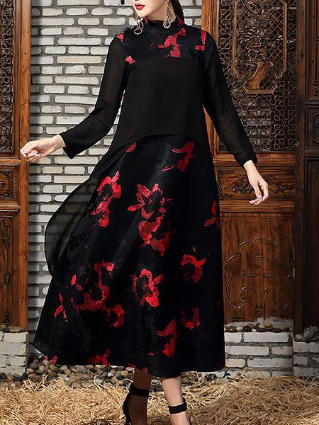 Shop Maxi Dresses - Black A-line Vintage Paneled Crew Neck Maxi Dress online. Discover unique designers fashion at StyleWe.com.