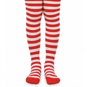 Jefferies Socks Little Girls Red White Stripe Pattern Christmas Tights 2-6