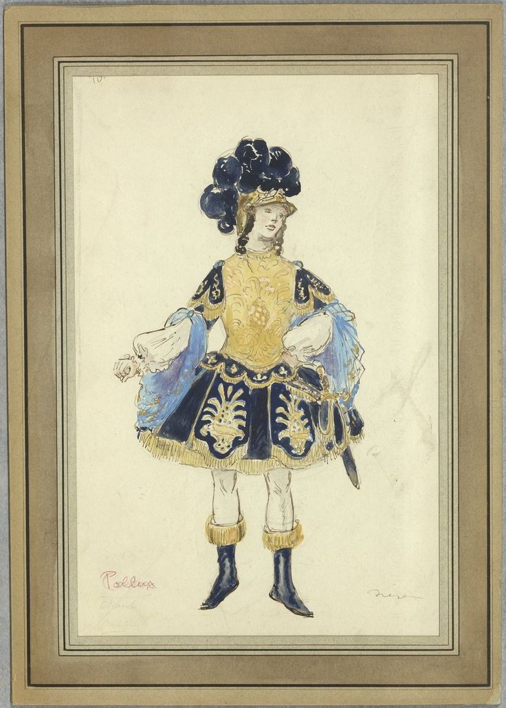 """Costume design (1918), by Jacques Drésa (1869-1929), for Pollux, in """"Castor et Pollux"""" (1737), by Jean-Philippe Rameau (1683-1764)."""