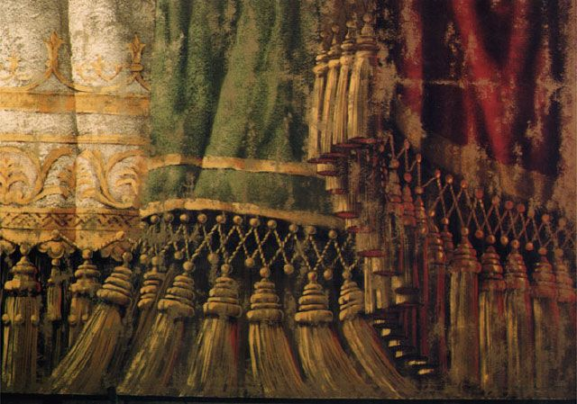 """Detail of theatre curtain detail of painted curtain backdrop for a motion picture production of """"Up Close and Personal"""" Full size is about 5..."""