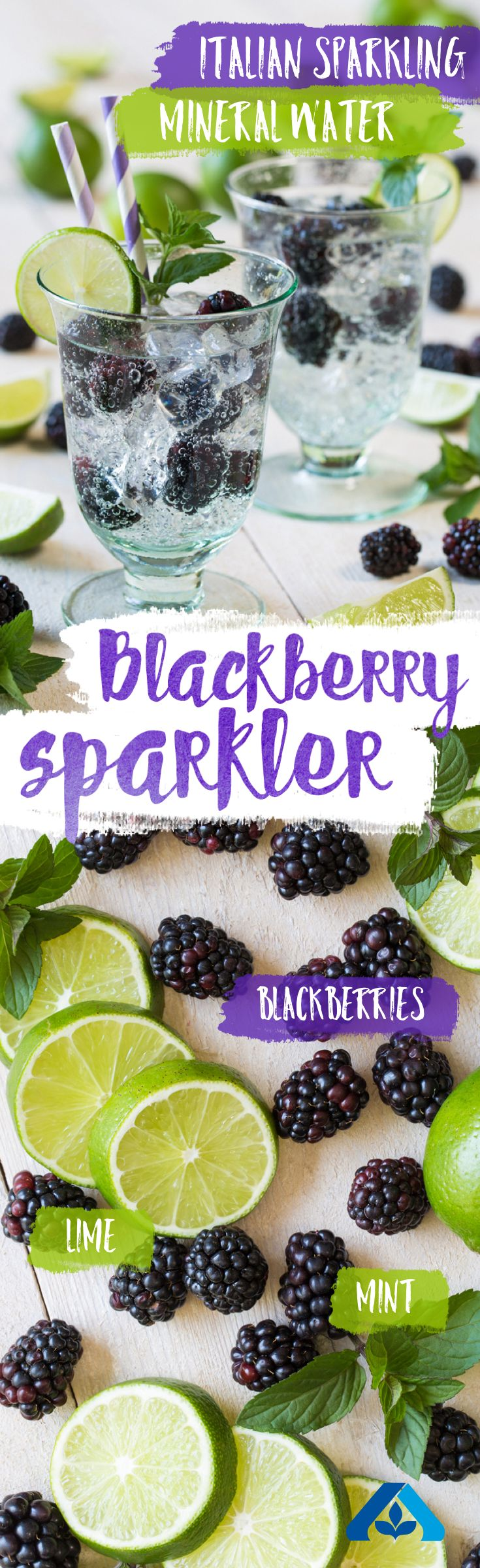 This Blackberry Sparkler recipe is simple and perfect for keeping cool, even in the middle of a heat wave! Just mix blackberries, lime and mint leaves with mineral water for this refreshing summer treat.