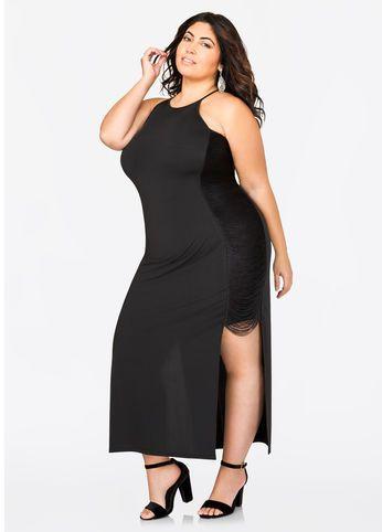Fringe Side Halter Maxi Dress
