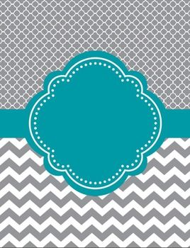 "Moroccan and Chevron Binder Cover ~ Two Versions ~Teal and Gray or Light Teal and GrayI love cute binder covers.  You can add a label to it or write on it.    If you decide to download this free product, please take a moment to leave feedback.  It's much appreciated.  ""Follow Me"" for updates and new products."