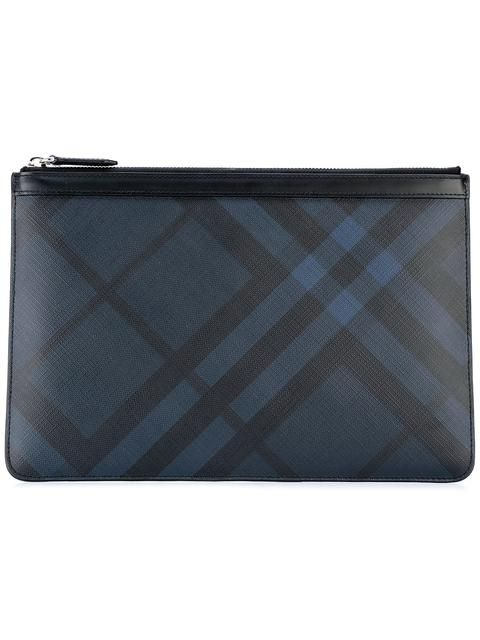2ce92afabebc BURBERRY Checked Top Zip Clutch.  burberry  bags  leather  clutch  pvc   polyester  hand bags