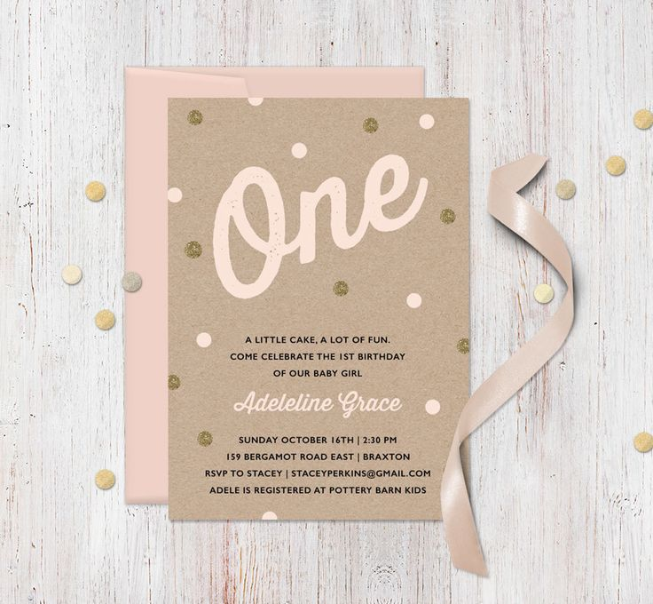 invitation words forst birthday party%0A Pink Gold First Birthday Invitation  Faux Kraft and Gold Glitter   Confetti or sprinkle theme  polka dot  printable invites for girl party