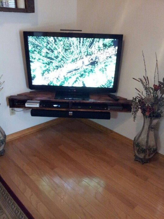 DIY Corner Tv Shelf in White, for a built in look, will also place another shelf above it for decorative objects (vases/pictures)