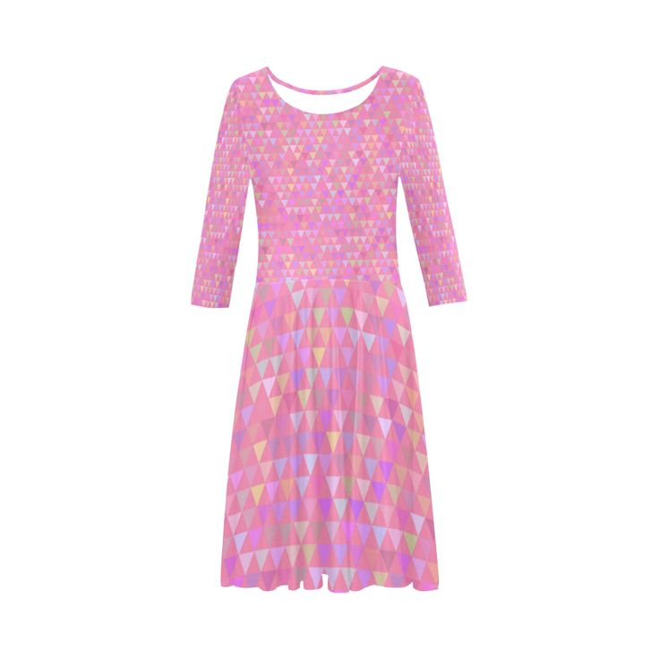 Triangles - Pink (3) Elbow Sleeve Ice Skater Dress (D20)