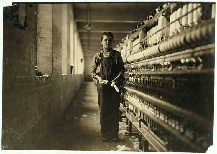 Tony Soccha, young, been working a year, bobbin boy by Lewis Hine 1911 [This could be my grandfather, who started as a bobbin boy at age 12.]