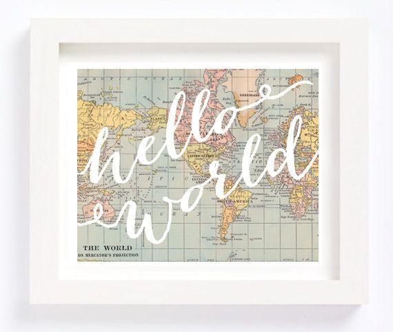 Hello World Vintage World Map Kid's Room Playroom Travel Nursery Wall Art Print Baby Shower new parents mom gift