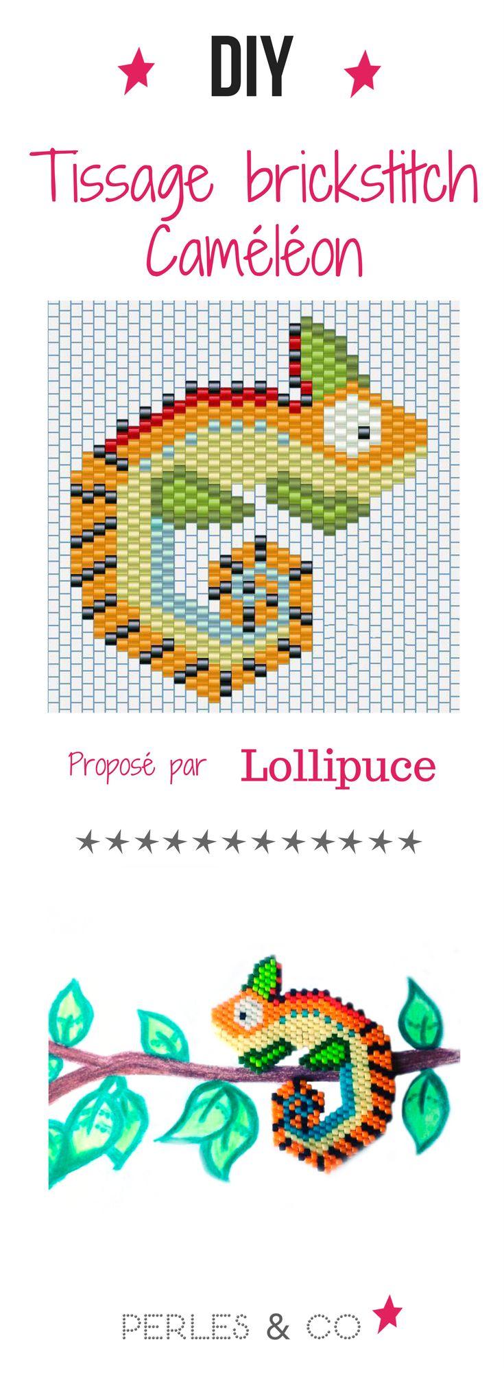 @Lollipuce nous propose une seconde grille de tissage en brick stitch : un caméléon ! N'hésitez pas à changer de couleurs de perles Miyuki Delicas, après tout ça change de couleur un caméléon !
