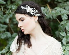 Chic Statement Wedding Headpiece, Pearls & Swarovski Crystals, Dahlia