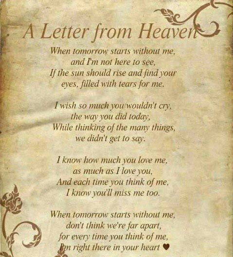 Letter From Heaven | Death Poems Quotes | Pinterest