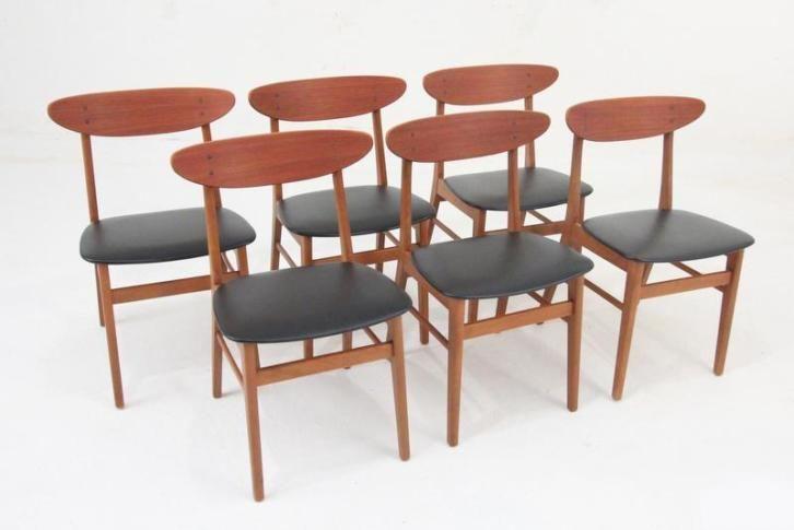 Zes mooie jaren '60 Deense eetkamerstoelen van Farstrup
