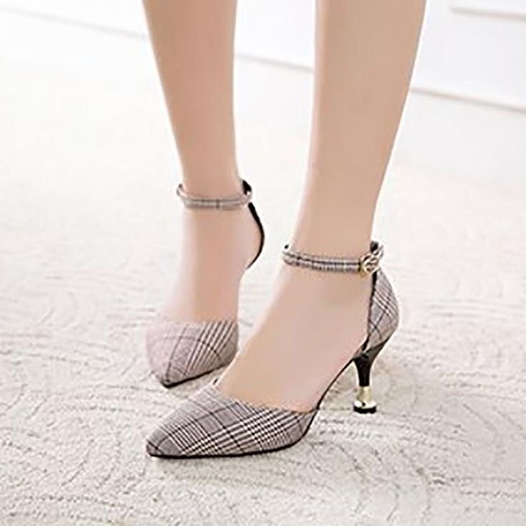 Fashion Retro Lattice Pointed Mueller Shoes