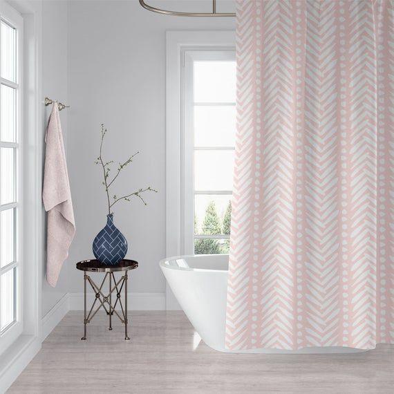 Light Rose Pink Herringbone Shower Curtain Custom Made Curtains