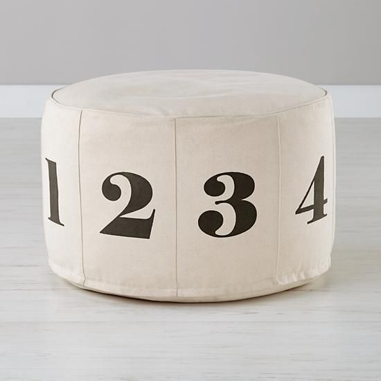 Land of Nod number pouf sewing tutorial, featured on Remodelaholic.comPoufs Nature, Boys Bedrooms, Kids Spaces, Black White, Canvas Numbers, Numbers Poufs, Floors Poufs, Land Of Nod, Landofnod