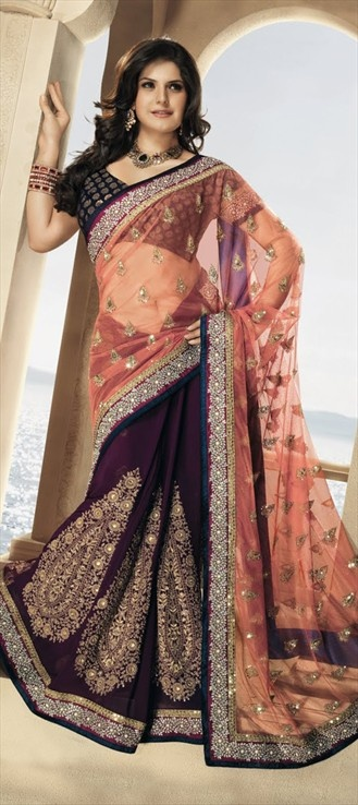 Bollywood sarees, Faux Georgette, Half Net, Thread, Lace, Zari, Machine Embroidery, Gota Patti, Sequence, Kundan, Resham, Orange, Purple and Violet Color Family