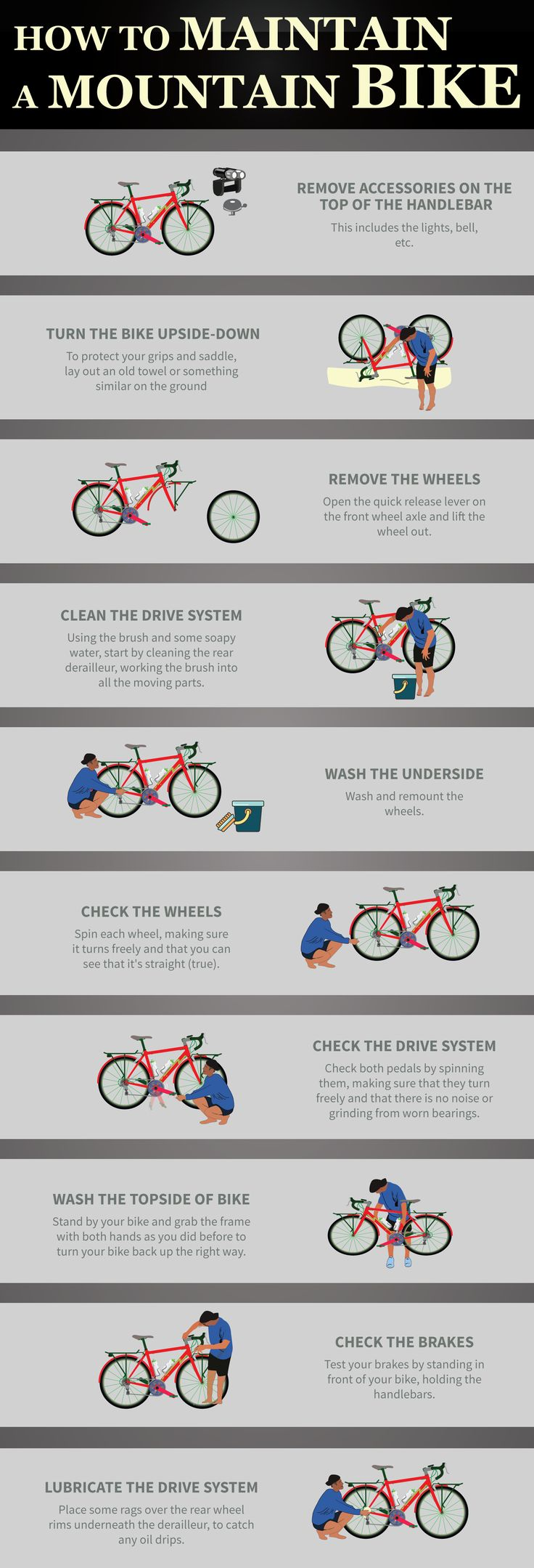 Infographic | How to Maintain a Mountain Bike in 10 Easy Steps