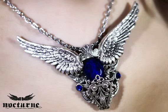 Gothic Necklace with Angel Wings with Blue Gem Stone - Victorian Gothic Jewelry