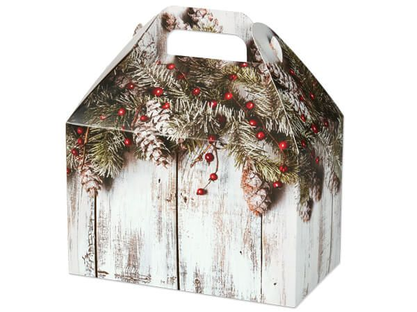 Rustic Berries Gable Boxes 8 1 2 X 4 3 4 X 5 1 2 Popcorn Gift Rustic Winter Corporate Holiday Gifts