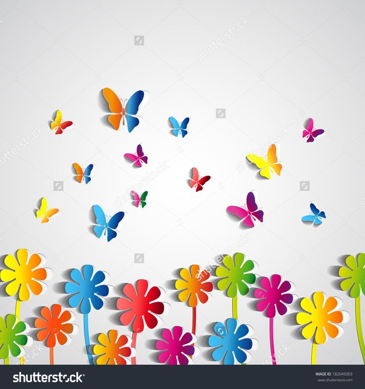 Abstract Paper Flowers Background - Paper Butterflies - Spring Theme Card - Vector - 182045003 : Shutterstock