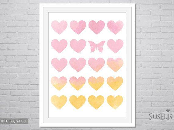 Heart wall art Watercolor Print Pink Yellow Heart print by Suselis