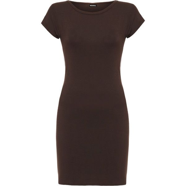 WearAll Jersey Cap Sleeve Bodycon Mini Dress ($12) ❤ liked on Polyvore featuring dresses, dark brown, short sleeve bodycon dress, short dresses, body con dresses, cap sleeve bodycon dress and cap sleeve dress