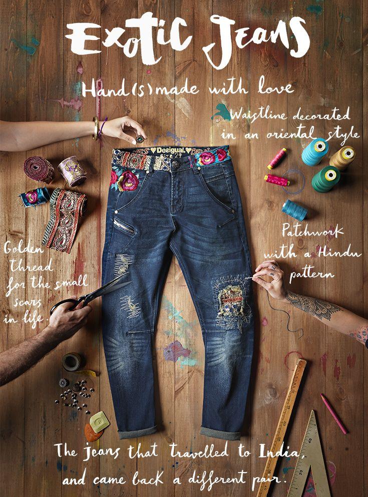 Estos pantalones vaqueros viajaron a la India ... y volvimos a ser completamente diferente. La línea de cintura incluye detalles embellisment hilos de oro y se han utilizado para diseñar estos pantalones. Una de las cosas que los hacen diferentes del resto son mezclas de los parches y las referencias de la India.