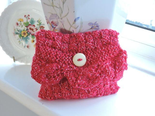 Knitted Small Red Clutch Bag £4.50