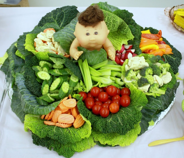 Baby shower cabbage veggie display. What a cute idea!!!