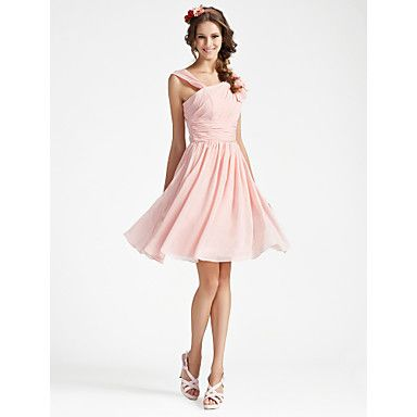 Bridesmaid Dress Knee Length Chiffon A Line V Neck Sleeveless Dress – USD $ 59.99