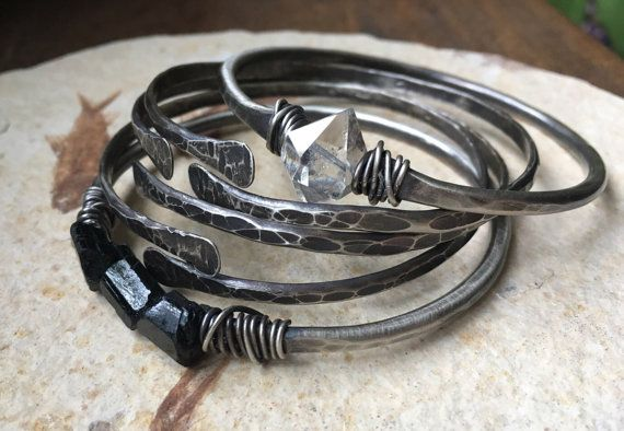 Sterling Silver Bangle armband rauwe Gemstone Jewelry Zwarte Toermalijn zilveren armbanden DanielleRoseBean Sterling Bangle Bracelets Bangle instellen