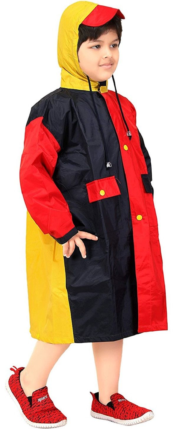 Real Black & Red Solid Hooded Raincoat #Raincoat #Black #Red