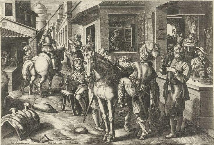 Philips Galle | Stijgbeugels, Philips Galle, c. 1598 - c. 1594 | Een straat waar paardentuig wordt gemaakt en verkocht. Op de voorgrond bestijgt een edelman zijn paard met behulp van de nieuwe stijgbeugels die hij in een winkel heeft gekocht. De prent maakt deel uit van een negentiendelige serie over nieuwe uitvindingen en ontdekkingen