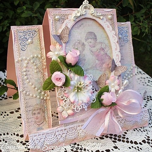 Pink shabby chic card for my handmade greeting cards for Shabby romantique