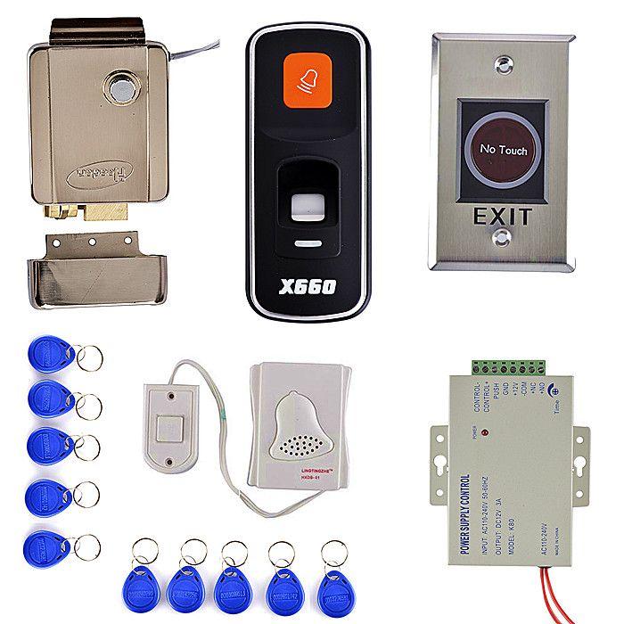 Diy Fingerprint 125khz Rfid Id Card Reader Door Access Control System Kit Electric Door Lock Remote Con Access Control System Access Control Remote Control
