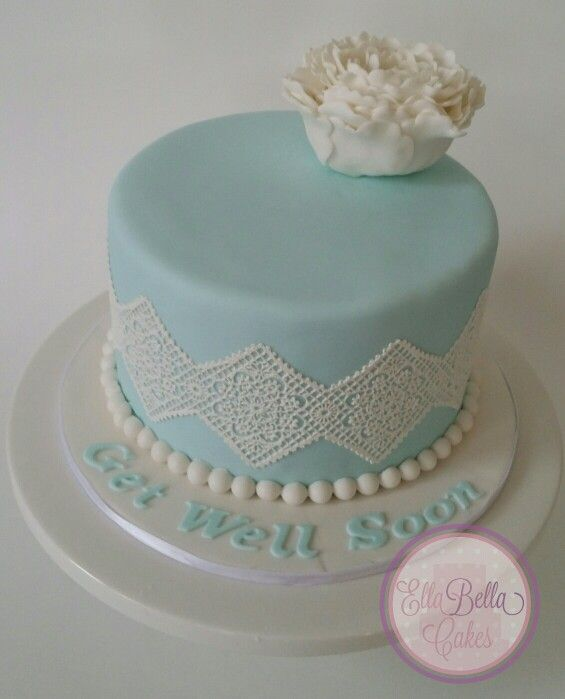 Tiffany blue chocolate Mud Cake with closed peony
