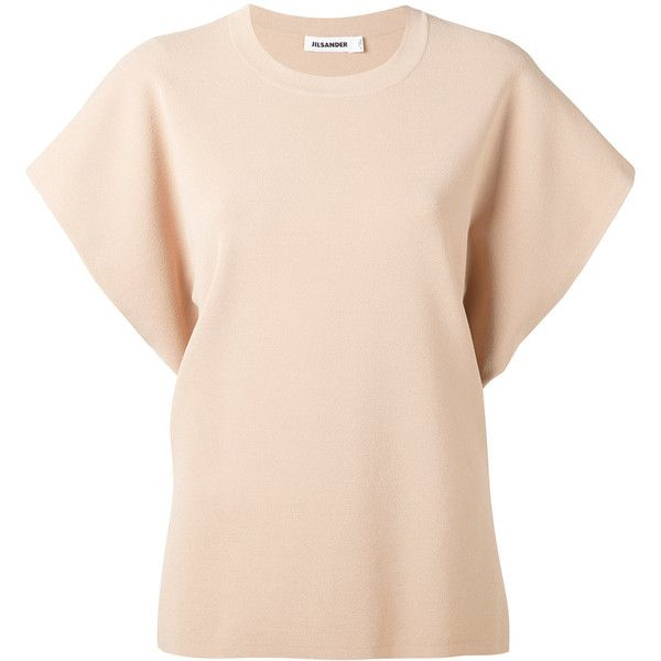 Jil Sander knitted short sleeve sweater (10 410 SEK) ❤ liked on Polyvore featuring tops, sweaters, beige, short sleeve sweater, pink top, jil sander top, beige top and beige sweater