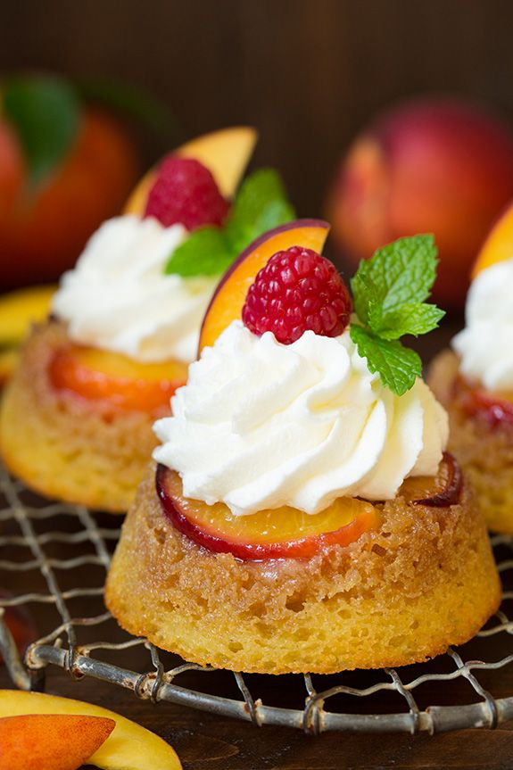 Cornmeal Peach Upside Down Cupcakes. Delectable!