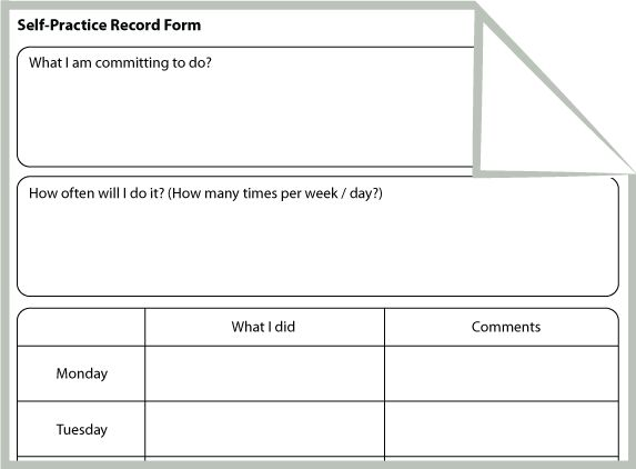 Self Practice Record Form (CBT Homework Worksheet)