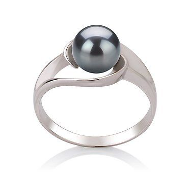 PearlsOnly Clare Black 6-7mm AAA Freshwater Sterling Silver With White Gold Plating Pearl Ring