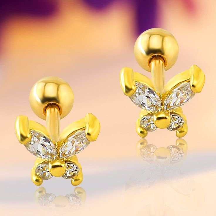 1 pair Stainless Yellow Gold Plated Clear Butterfly Zircon CZ Anti-Allergic Stud Earrings Jewelry for Children Girls Baby Kids