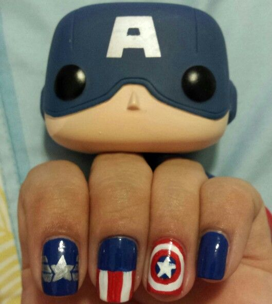 17 Best Ideas About Captain America Nails On Pinterest