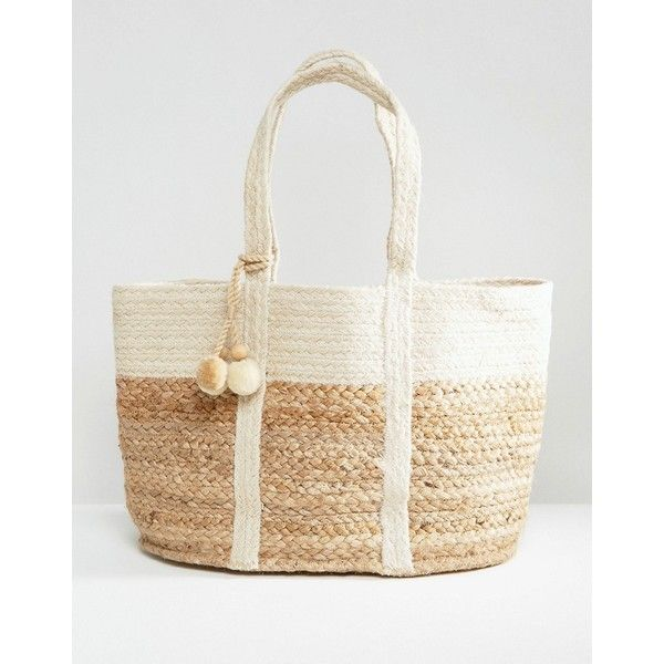 Mango Straw Beach Bag ($64) ❤ liked on Polyvore featuring bags, handbags, beige, straw bags, white bag, beige purse, straw beach bag and pom pom handbag