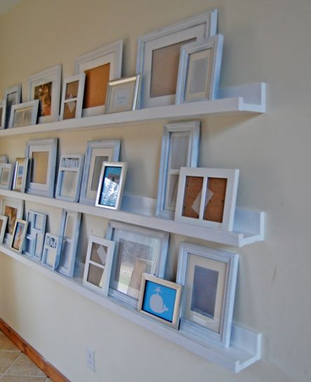 $10 ledges...for JC to make!: Picture Ledge, Gallery Ledge, Idea, Photo Display, Diy Ledges, Living Room, Photo Wall, Photo Ledge, Gallery Wall