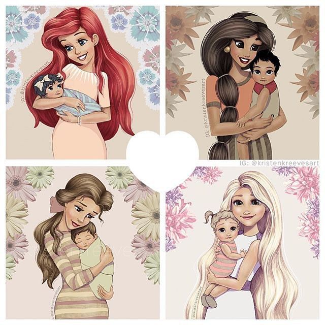 It's our favorite disney princesses turned into #mousemoms !!!!!! drawings by @kristenkreevesart