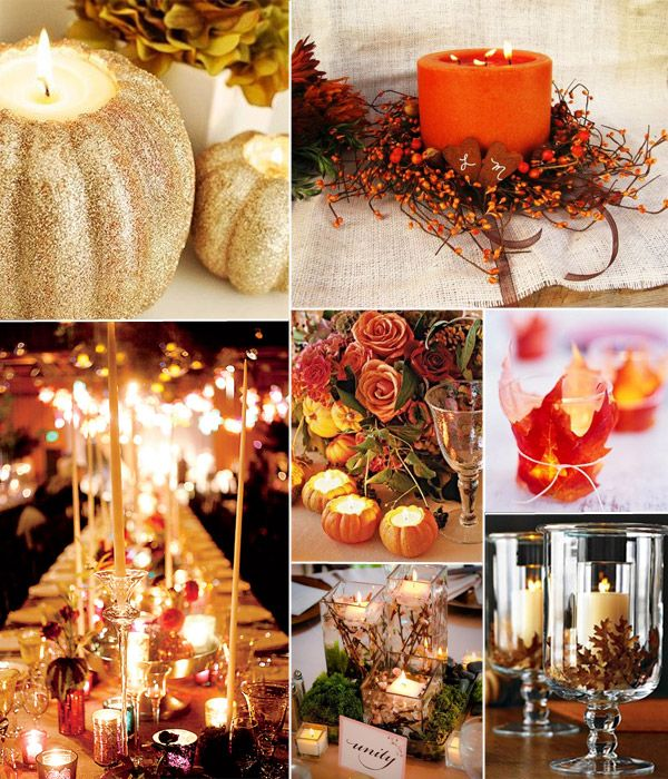 10 Incredible Wedding Details for Fall Wedding 2014  Love the mini pumpkin candle holders!!!